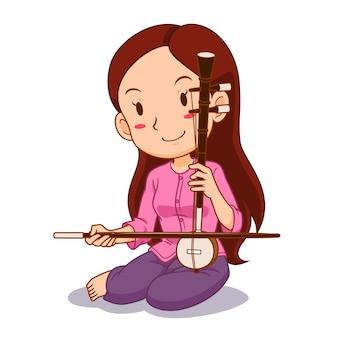 Personagem de desenho animado da menina jogando saw-u