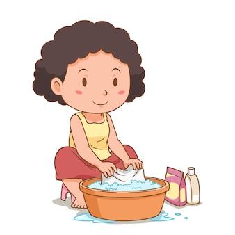 Personagem de desenho animado da mulher lavando roupas com uma bacia de plástico.