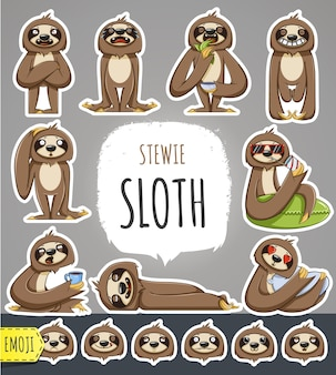 Personagem de desenho animado da preguiça. adesivos emoticons com diferentes emoções. ilustração vetorial.