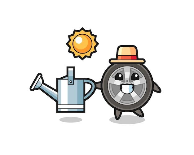 Personagem de desenho animado da roda de um carro segurando um regador, design de estilo fofo para camiseta, adesivo, elemento de logotipo