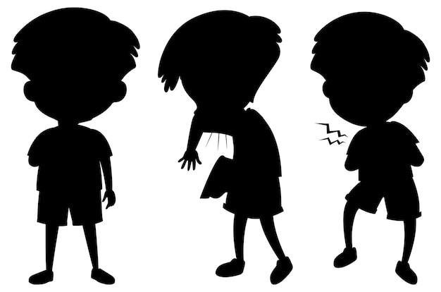 Personagem de desenho animado da silhueta de crianças em fundo branco