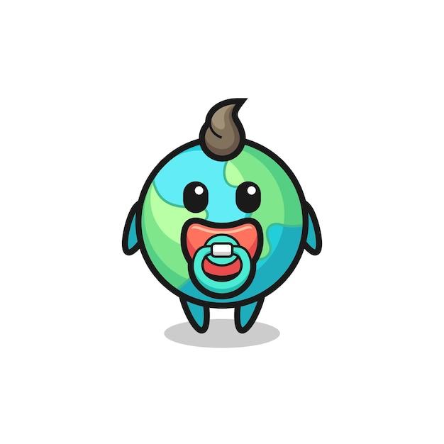 Personagem de desenho animado da terra do bebê com chupeta, design de estilo fofo para camiseta, adesivo, elemento de logotipo