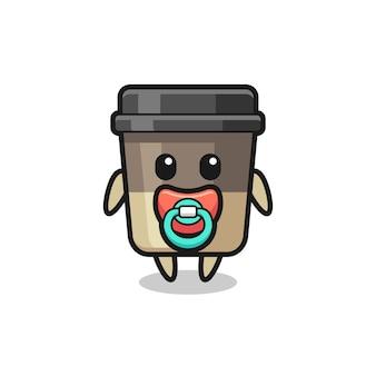 Personagem de desenho animado da xícara de café do bebê com chupeta, design de estilo fofo para camiseta, adesivo, elemento de logotipo