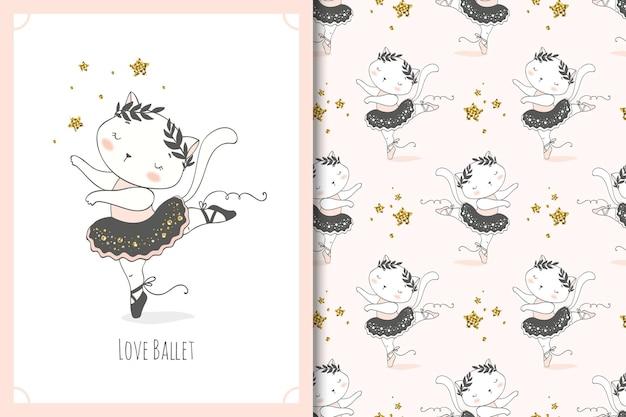 Personagem de desenho animado dançarina de bailarina gato pequeno bonito. cartão de gatinho e conjunto padrão sem emenda.