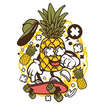 Personagem de desenho animado de abacaxi