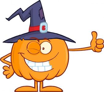 Personagem de desenho animado de abóbora bruxa segurando um polegar