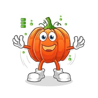 Personagem de desenho animado de abóbora com bateria cheia