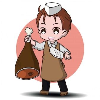 Personagem de desenho animado de açougueiro bonito., trabalho