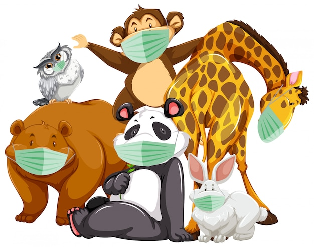 Personagem de desenho animado de animais selvagens usando máscara Vetor grátis