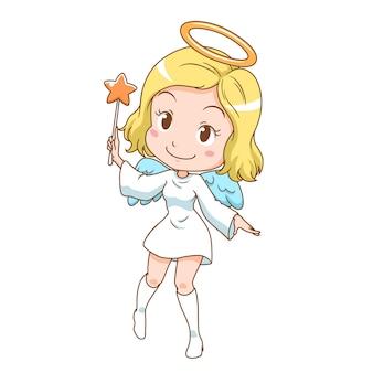 Personagem de desenho animado de anjo bonito segurando a varinha mágica.