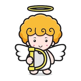 Personagem de desenho animado de anjo fofo segurando harpa