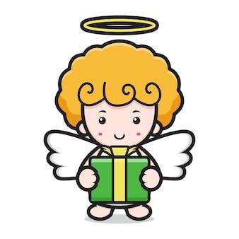 Personagem de desenho animado de anjo fofo segurando uma caixa de presente