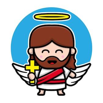 Personagem de desenho animado de anjo jesus cristo fofo