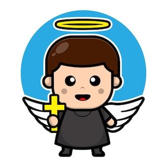 Personagem de desenho animado de anjo pastor fofo