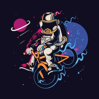 Personagem de desenho animado de astronauta andando de bicicleta
