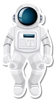Personagem de desenho animado de astronauta ou astronauta em estilo adesivo