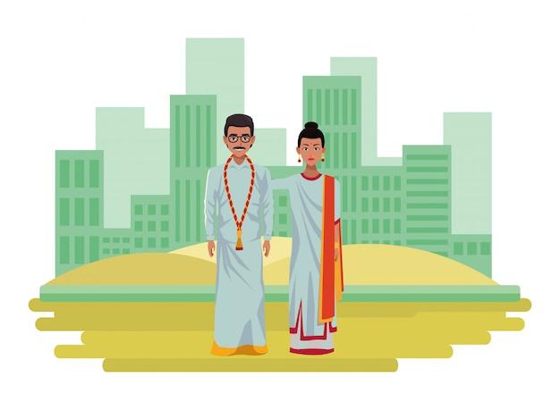 Personagem de desenho animado de avatar de casal indiano