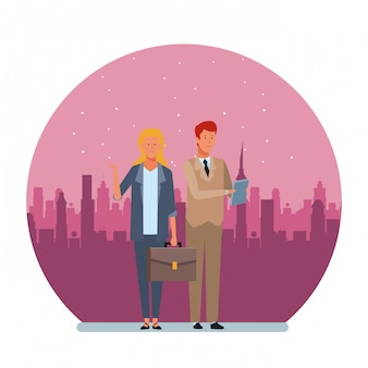 Personagem de desenho animado de avatar de casal negócios rodada ilustração