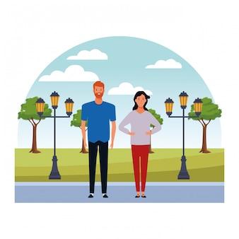 Personagem de desenho animado de avatar de casal