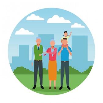 Personagem de desenho animado de avatar de família