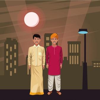 Personagem de desenho animado de avatar de homens indianos