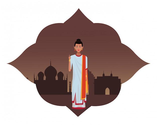 Personagem de desenho animado de avatar de mulher indiana