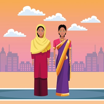 Personagem de desenho animado de avatar de mulheres indianas