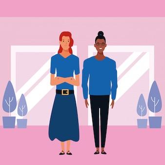 Personagem de desenho animado de avatar de mulheres