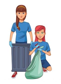 Personagem de desenho animado de avatar de pessoa de serviço de limpeza