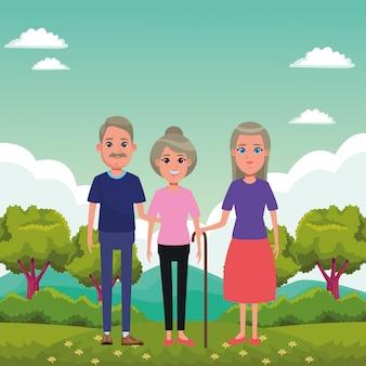 Personagem de desenho animado de avatar de pessoas idosas
