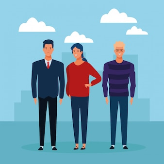 Personagem de desenho animado de avatar do grupo de pessoas