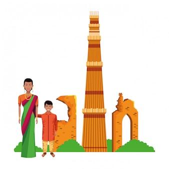 Personagem de desenho animado de avatar família indiana