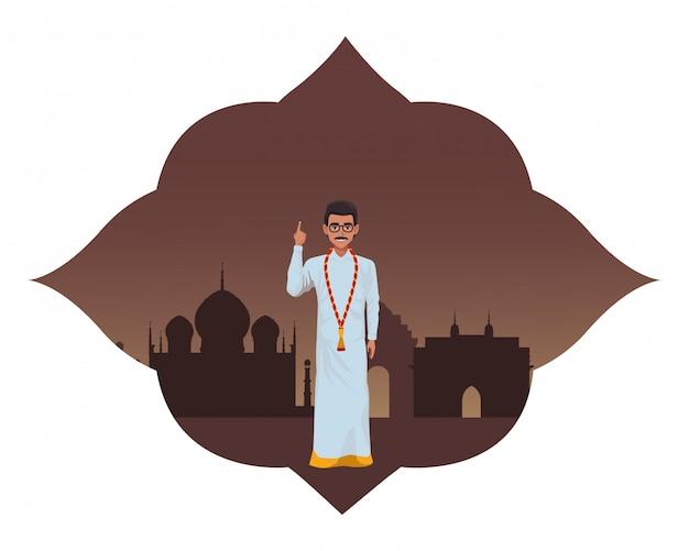 Personagem de desenho animado de avatar homem indiano