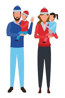 Personagem de desenho animado de avatares de família