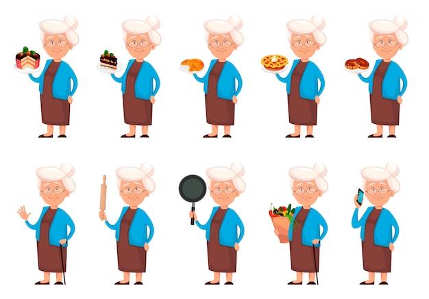 Personagem de desenho animado de avó, conjunto de dez poses