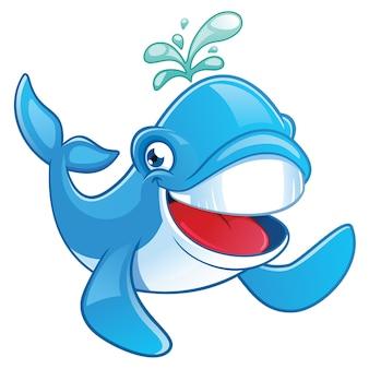 Personagem de desenho animado de baleia sorridente