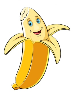 Personagem de desenho animado de banana feliz
