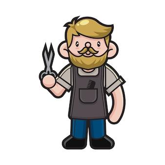 Personagem de desenho animado de barbeiro bonito