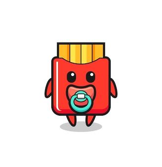 Personagem de desenho animado de batata frita com chupeta, design de estilo fofo para camiseta, adesivo, elemento de logotipo