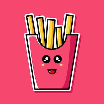 Personagem de desenho animado de batata frita fofa