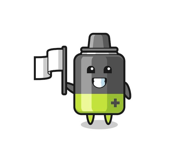 Personagem de desenho animado de bateria segurando uma bandeira, design de estilo fofo para camiseta, adesivo, elemento de logotipo