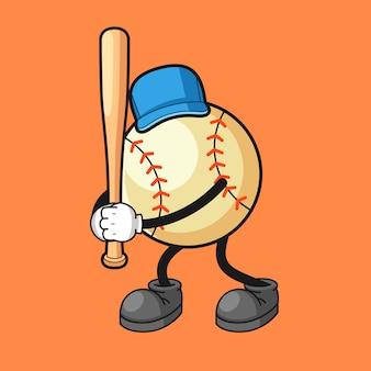 Personagem de desenho animado de beisebol em pé segurando um pedaço de pau