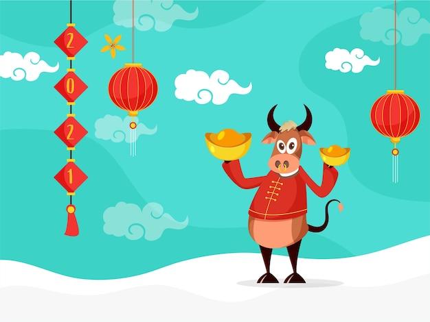 Personagem de desenho animado de boi segurando lingotes com número, lanternas penduradas em fundo branco e turquesa.