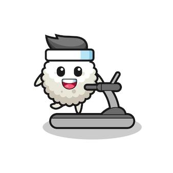 Personagem de desenho animado de bola de arroz andando na esteira, design de estilo fofo para camiseta, adesivo, elemento de logotipo