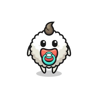 Personagem de desenho animado de bola de arroz de bebê com chupeta, design de estilo fofo para camiseta, adesivo, elemento de logotipo