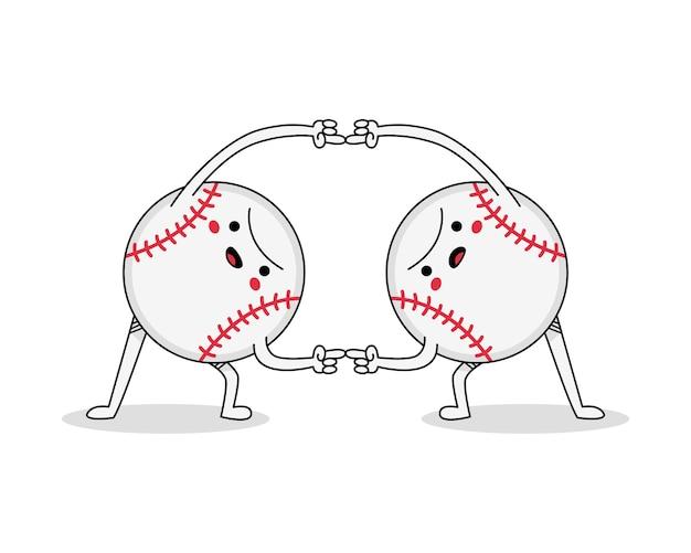 Personagem de desenho animado de bola de beisebol fofa, una-se