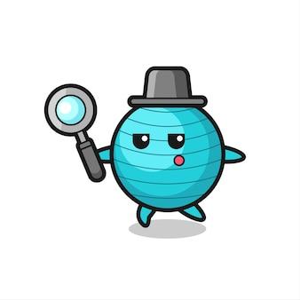Personagem de desenho animado de bola de exercícios procurando com uma lupa, design de estilo fofo para camiseta, adesivo, elemento de logotipo