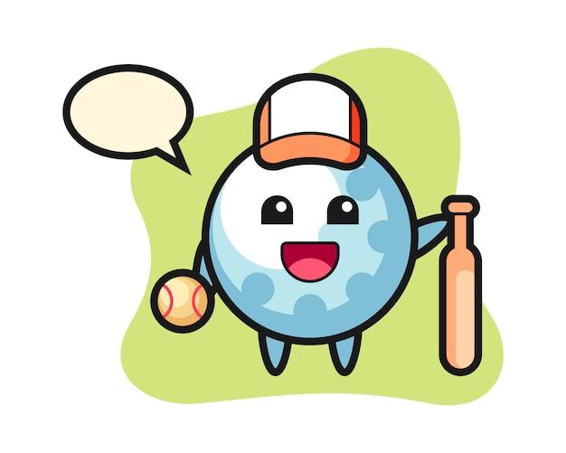 Personagem de desenho animado de bola de golfe como jogador de beisebol