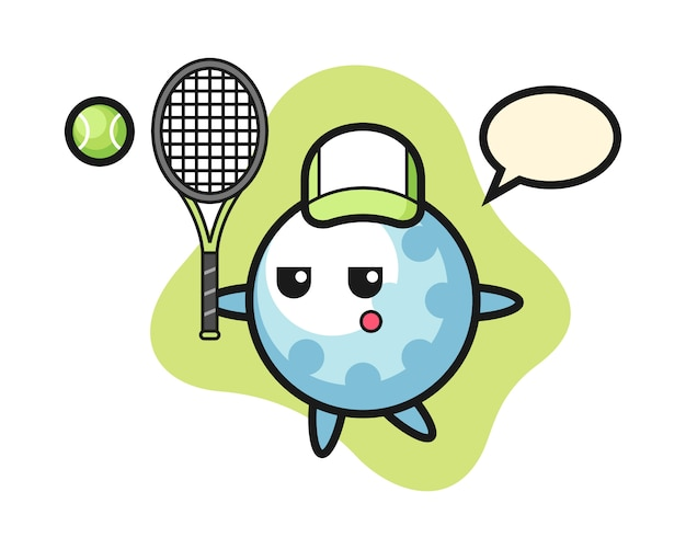 Personagem de desenho animado de bola de golfe como tenista