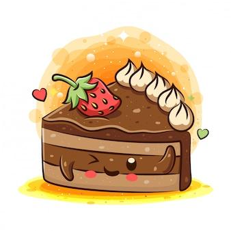 Personagem de desenho animado de bolo saboroso kawaii